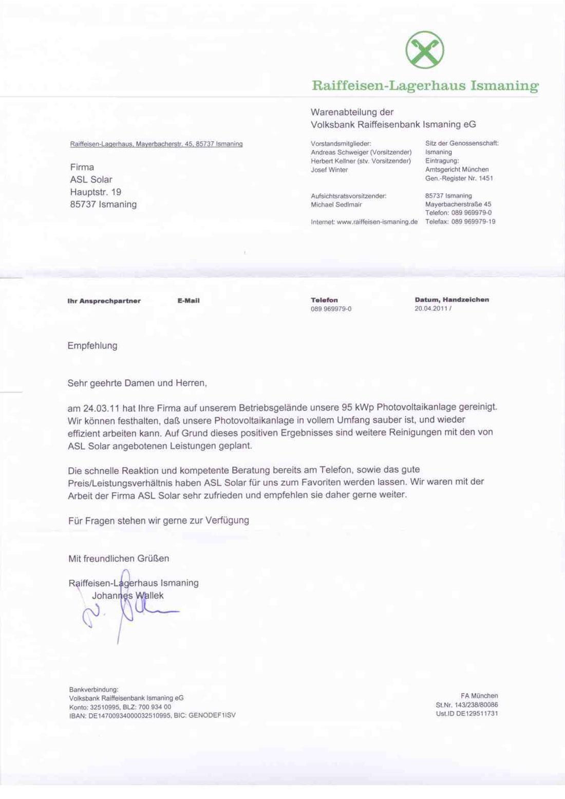 EmpfehlungsschreibenRaiffeisenbankIsmaning